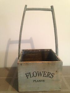 Vintage style wood flower box with removable plastic liner