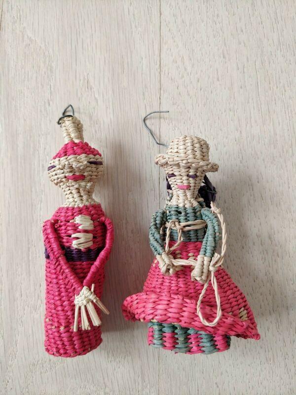 Vintage Set 2 Woven Straw Christmas Ornaments Couple Native Mexican Guatemala