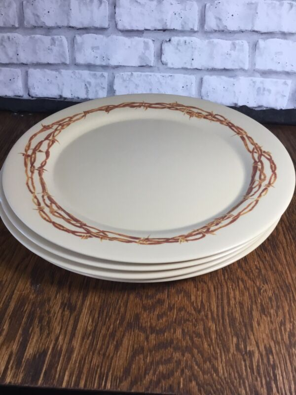 4 Cowboy Living Dinner Plates Barbed Wire MELAMINE Camping BBQ Country Living