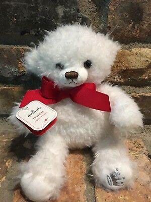 Hallmark Small Fuzzy Soft Stuffed White w/Red Bow Owen Teddy Bear Plush NWT
