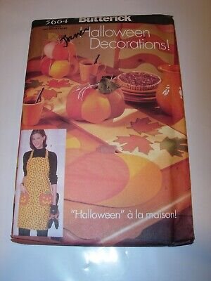 CRAFTS UNCUT BUTTERICK 5664 SEWING PATTERN HALLOWEEN DECOR APRON TABLE RUNNER  (Halloween Decoration Crafts Adults)