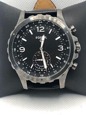 Fossil Q FTW1160 Men's Black Leather Analog Black Dial Hybrid Smart Watch  KS105