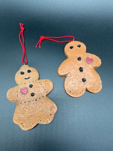 Vintage set of Two Clay/Ceramic Gingerbread Man and Woman