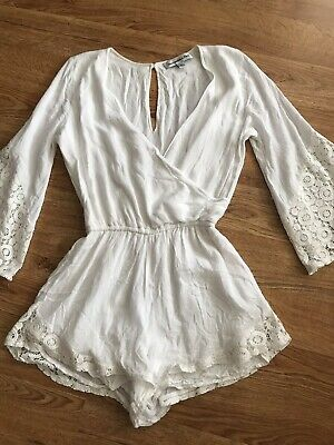 Abercrombie & Fitch White Shorts Romper Lace Detail Small