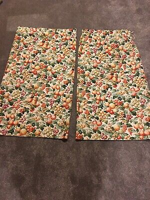 "Vintage Pair French Fruit Floral 100% Cotton Curtains Country Cottage 44"" X 48"""