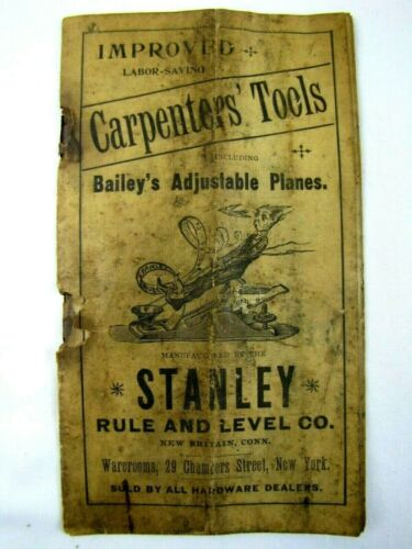 VERY RARE 19TH CENTURY STANLEY RULE & LEVEL CO. WOOD PLANES ADVERTISING CATALOG