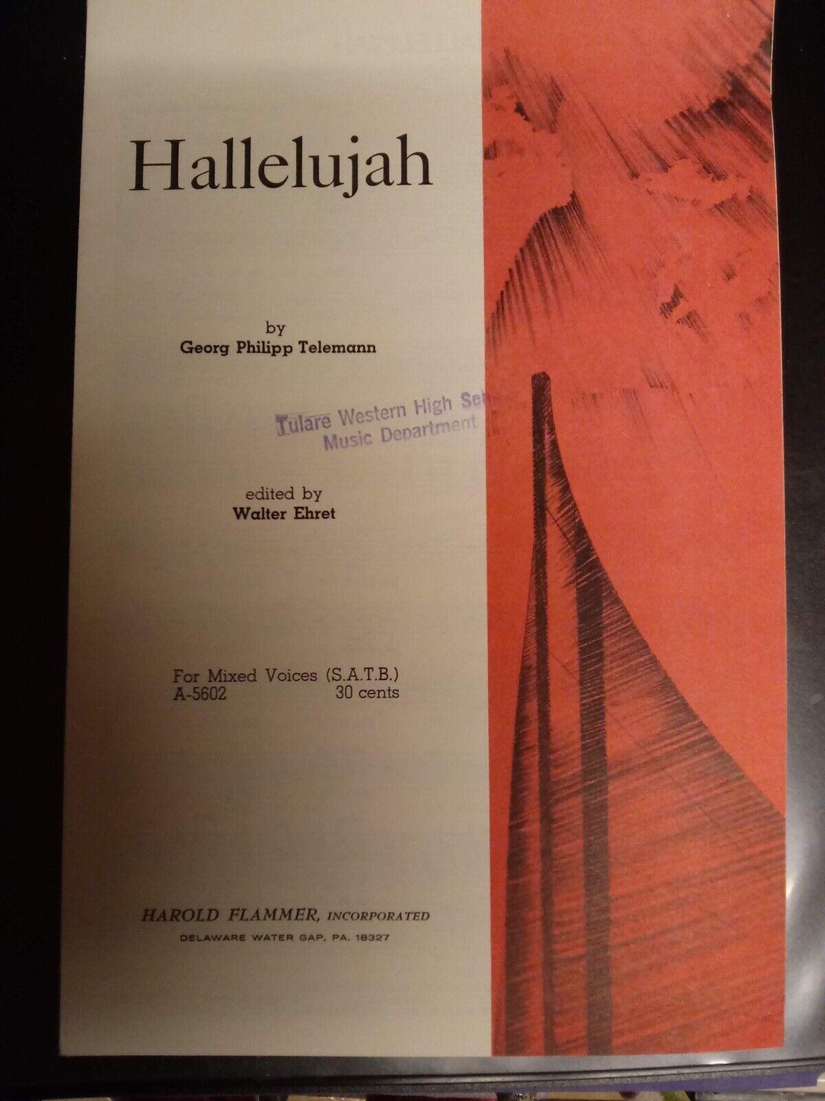 Church Choral Sheet Music Hallelujah Telemann/Ehret SATB 10 Copies - $3.99