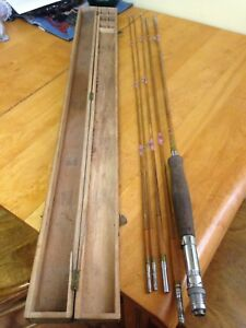 Vintage 8 Foot Bamboo Fly Rod With Wood Case. Nice!