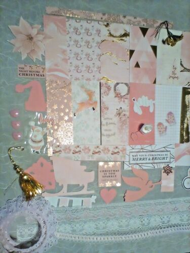 Junk journal supplies, 56 pink Christmas papers, tags, trims, ephemera etc