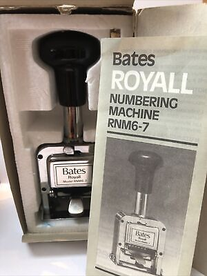 Vintage Bates Royall Numbering Machine Rnm6-7 Automatic Stamping Machine
