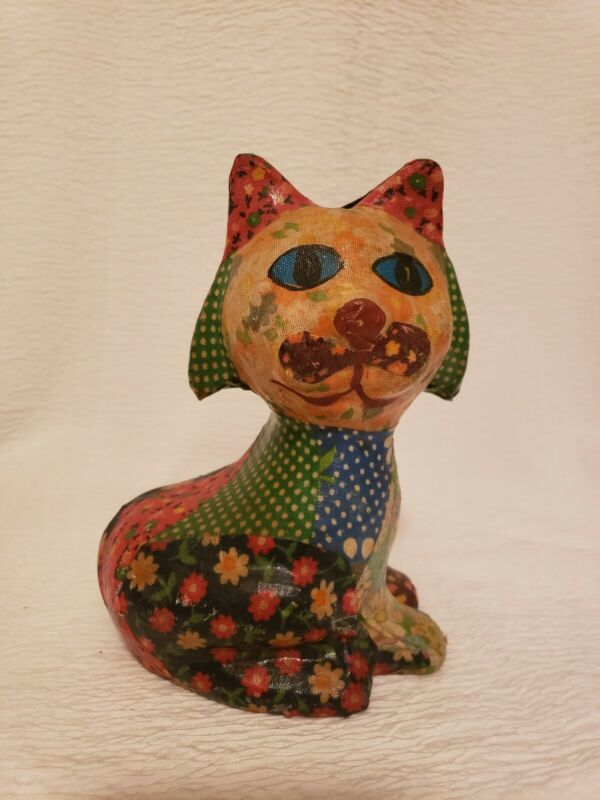 Vintage Patchwork Decoupage Ceramic Cat Kitten Bank w/out Stopper
