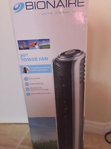 New in box Bionaire tower fan with remote