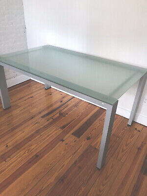 Contemporary Frosted Glads Office Desk Brushed Steel Legs