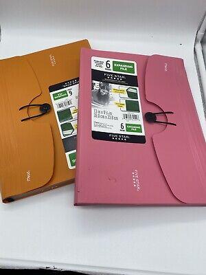 1 Five Star 6-pocket Expanding File Plastic Expandable Folder 13 X 9 38 Asst.