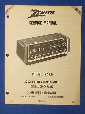 Zenith F480 Service Repair Manual Factory Original The Real Thing # RA73  for sale  East York