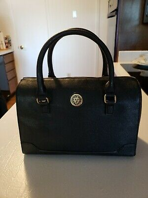 NWOT ANNE KLEIN Black Faux Leather Purse, Handbag, Satchel with Studded Bottom
