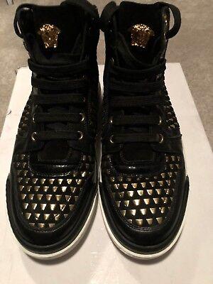 authentic $1095 Versace men's high-top sneaker black gold size US 7.5