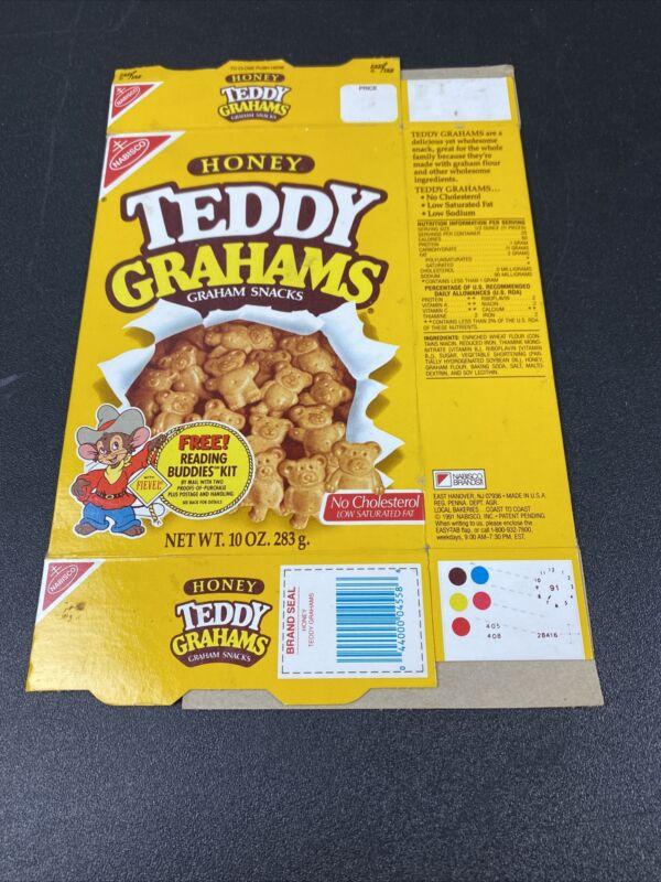 Teddy Grahams Vintage 1991 Empty Box Fievel Reading Buddies Kit