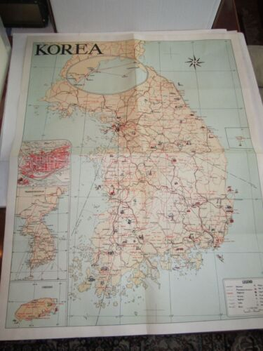 "VINTAGE MAP OF KOREA - COLORIZED - 21"" X 25"" - TUB BB-3"