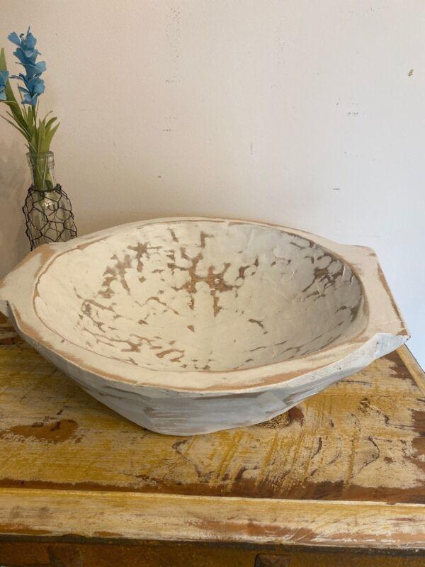 Primitive  Farmhouse Round Hand Carved Large Wood Dough Bowl -Centerpiece-