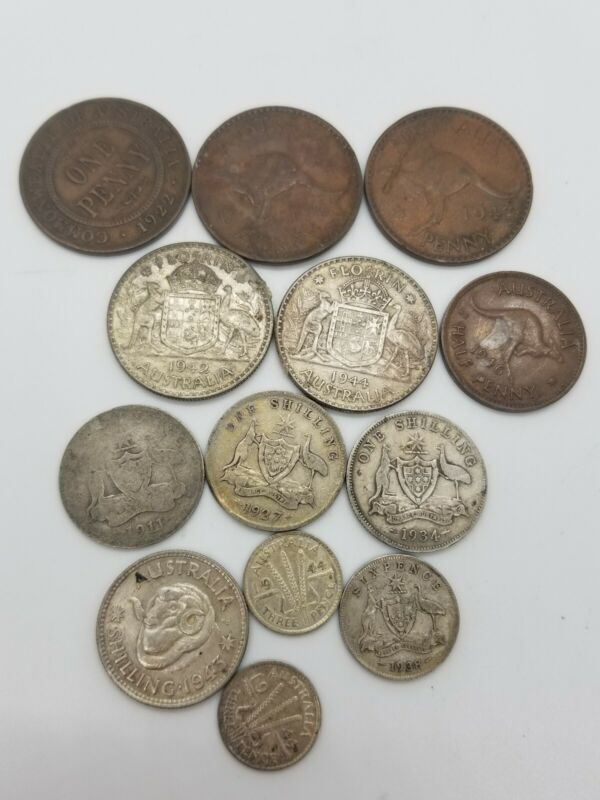 Lot Of 13 1910, 1920, 1930 And 1940 Australian Coins- Pennies, Floriens & pences