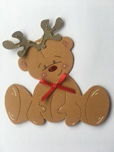 4 X Made Christmas Bear Die Cut Toppers For Card Making