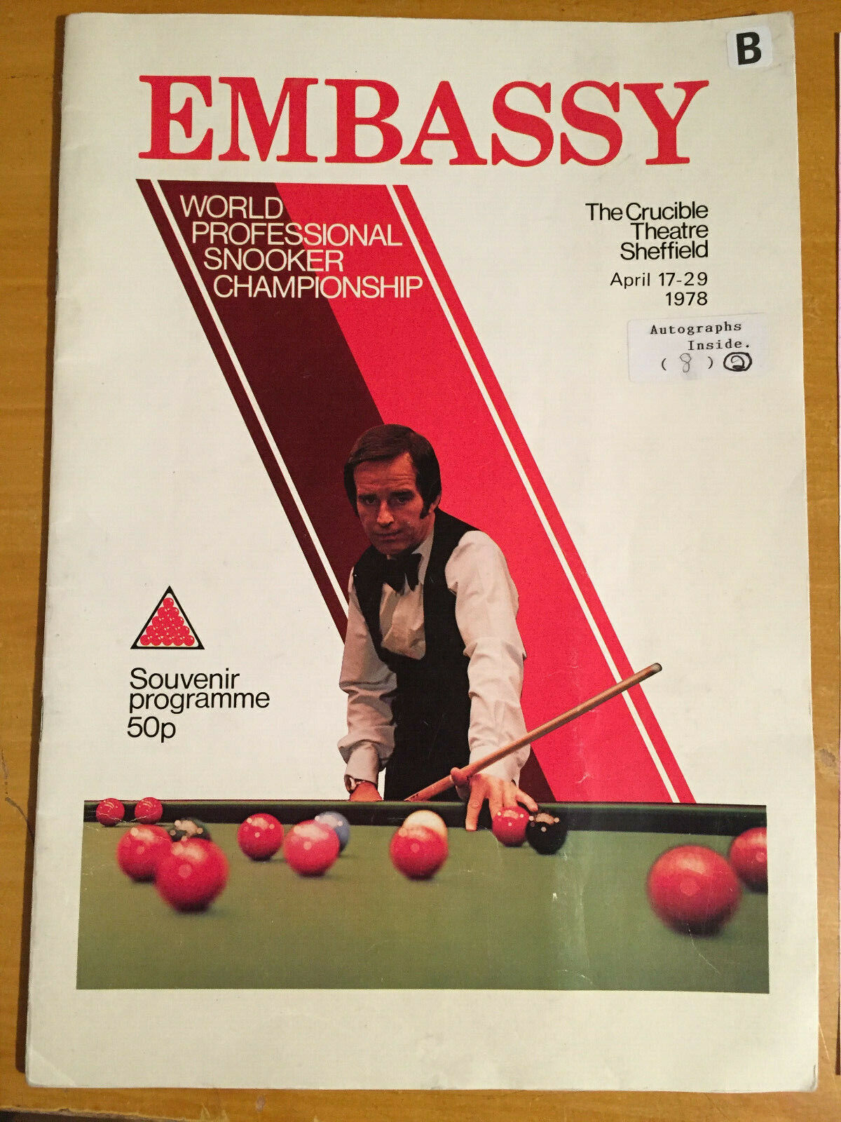 1978 Signed x 8 Embassy World Professional Snooker Championship Programme vgc