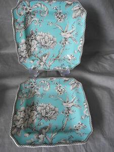 4 pc 222 FIFTH ADELAIDE Turquoise Grey Dinnerware Salad Plates Toile Birds & Toile Dinnerware | eBay