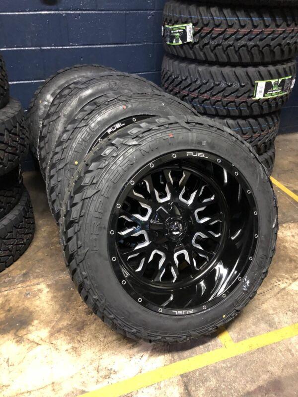 "22"" 22x12 D611 Stroke Black Wheels 35"" Fuel Mt Tire Package 5x150 Toyota Tundra"