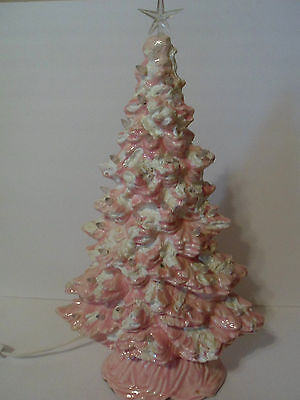 """Vintage Pink Ceramic Christmas Tree With Clear Bulbs & White Flocking, 17"""" With"""