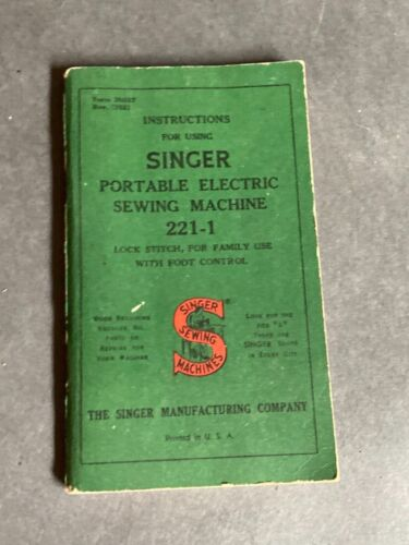 vintage Singer Portable Electric Sewing Machine Instructions For Using 221-1