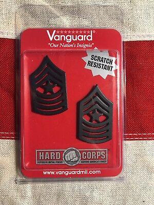 USMC Marine Corps Chevron Sergeant Major Insignia Black Metal Vanguard