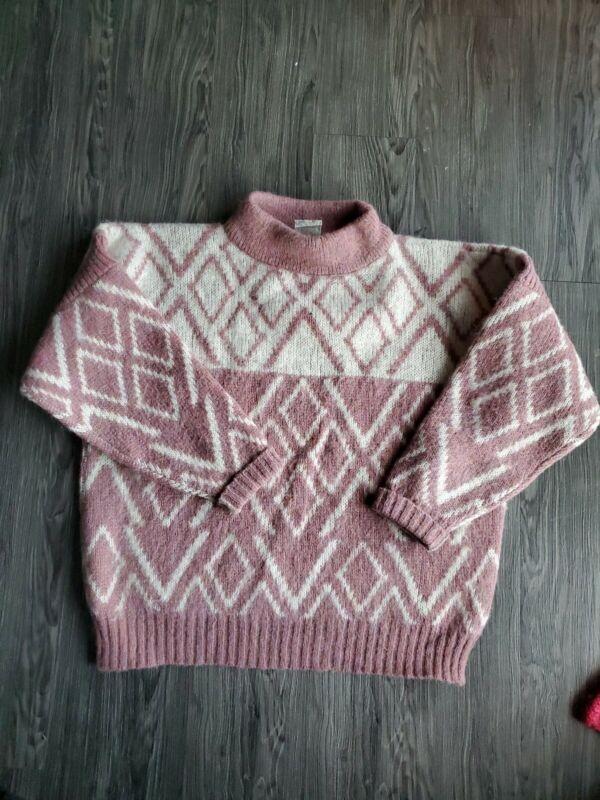 Vintage Hilda LTD Icelandic Wool Chunky Knit Sweater Pink Pullover Medium Womens