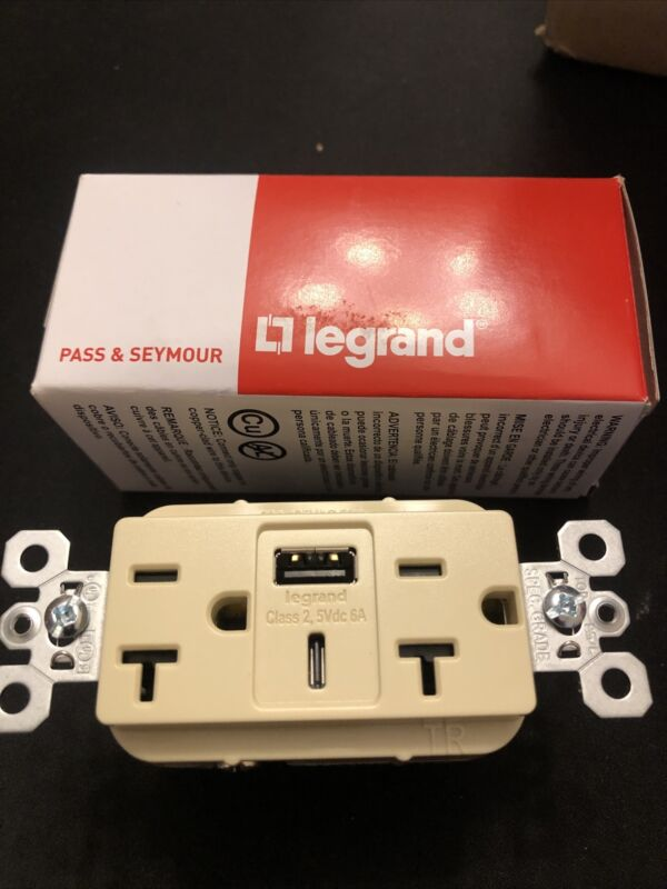 Pass & Seymour Commercial USB Charging Receptacle - 20a  type a c IVORY