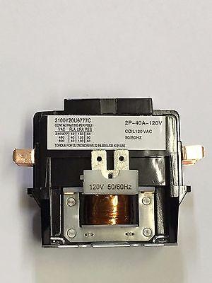 Contactor 40 Amp 2 Pole 120v Ac Coil Definite Purpose Fl 50 Amp