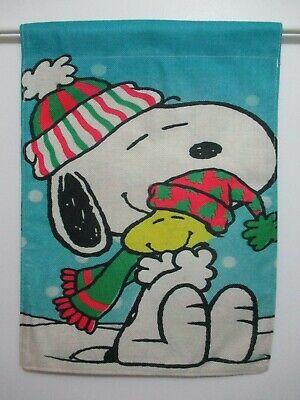 PEANUTS SNOOPY WOODSTOCK - WARM WINTER HUGS SNOWFALLING - SMALL 13x18 FLAG - NEW