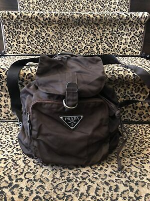 Prada Rare Vintage Chocolate Brown Nylon Drawstring Medium Sized Backpack