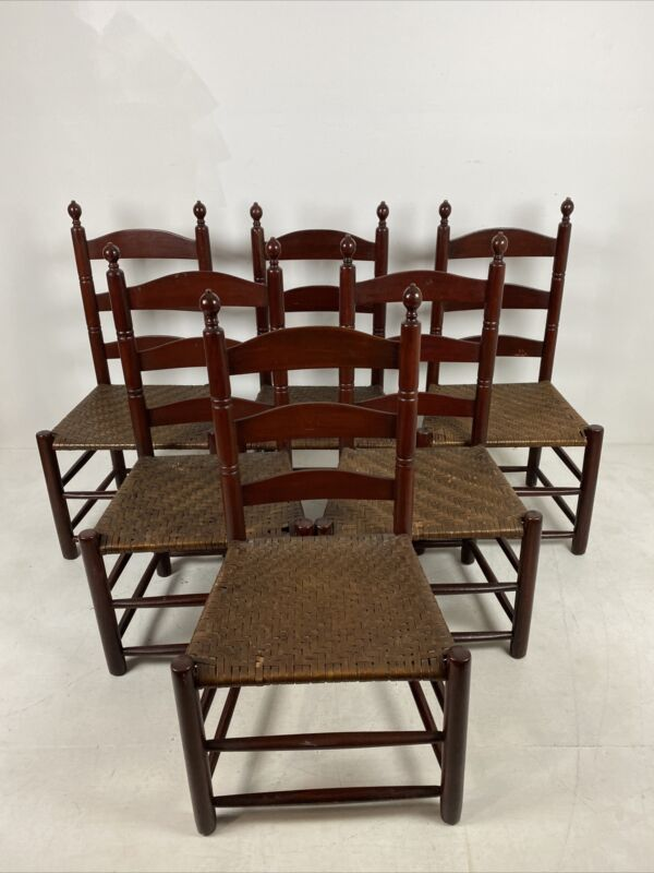 A Very Fine And Rare Set Of 6 Ladder Back Side Chairs W/ Old Red Paint ca 1800