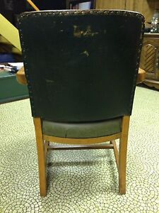 Hunter Green Leather Solid Wooden Chair  London Ontario image 5