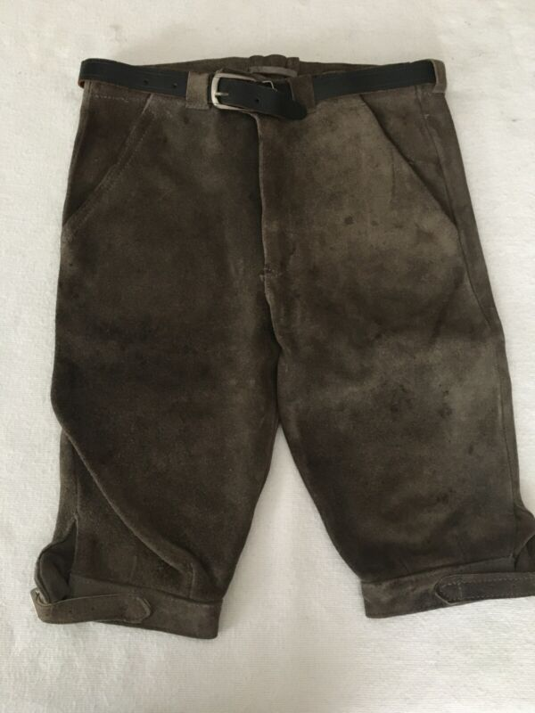 "Vintage Boys Lederhosen Suede Bavarian Pants Leather Belt 12""Wx18"" L"