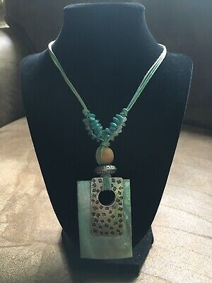 You & I Light Blue Shell Metal Beaded Statement - Light Blue Beaded Necklace