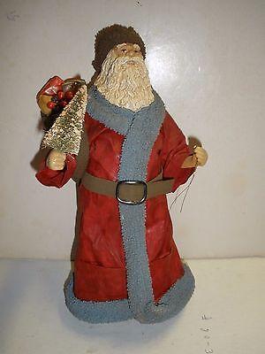 Clothtique Possible Dreams Santa Claus holding tree furry lapel Old St Nicholas