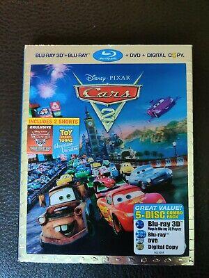Cars 2 (Blu-ray/DVD, 2011, 5-Disc Set 3D) Disney Pixar