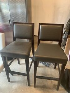 Grey Leather Counter Height Bar Stools