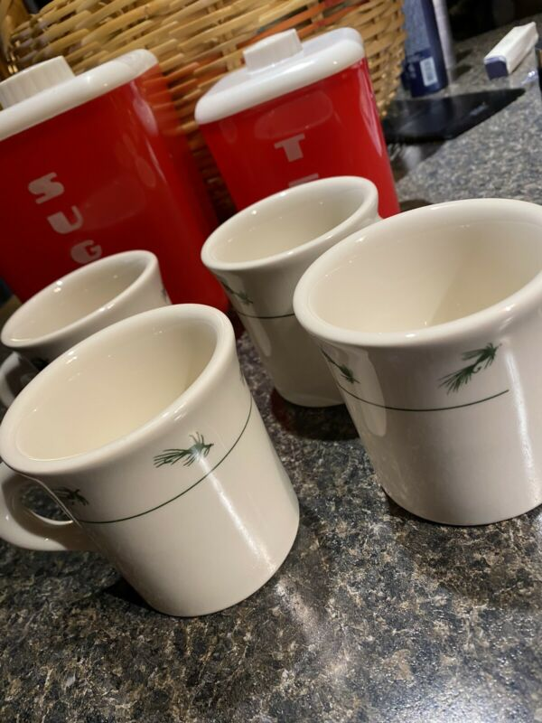 6 Homer Laughlin Coffee Cups Fly Fishing L.L. Bean