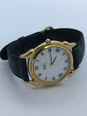 Esq Gold Tone Quartz Watch With Black Leather Band (148)