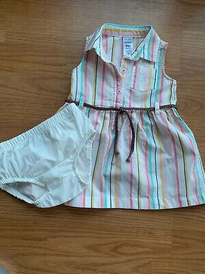 NEW Carters Baby Girl 6-9 months Stripe Shirt Dress w/diaper cover & Belt