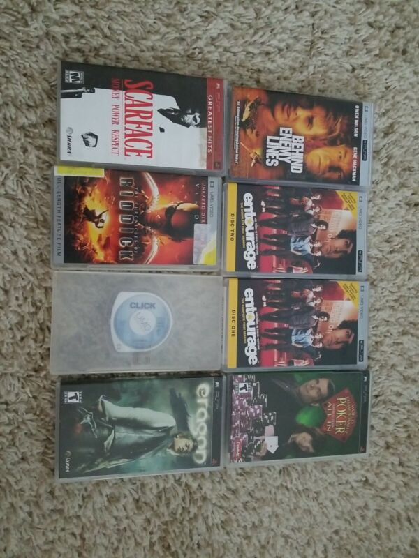 Lot of 8 Sony Playstation PSP UMD Video Movies and Games with Cases