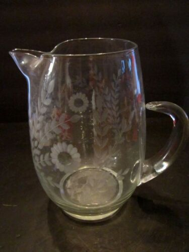 ANTIQUE HAND BLOWN ROUND ETCHED FLOWERS GLASS WATER PITCHER APPLIED HANDLE. 9""