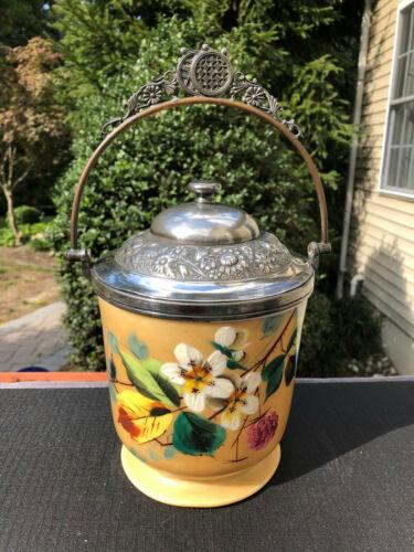 Antique Victorian Meriden B Co Biscuit Cookie Cracker Hand Painted Floral Jar